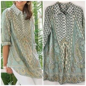 Soft Surroundings paisley pleated cotton tunic top
